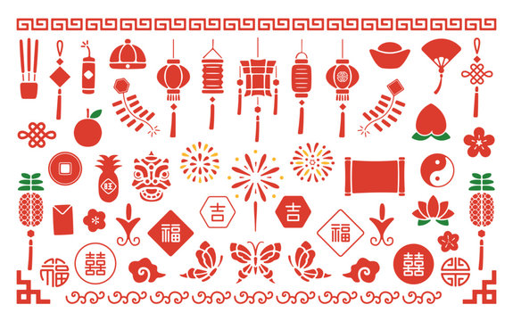 Chinese New Year Icons and vector elements