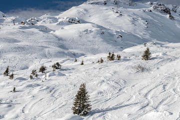 Winter mountain ski resort landscape