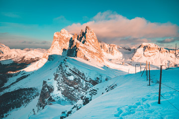 Fototapete - Seceda mountain peaks in the Dolomites at sunset in winter, South Tyrol, Italy