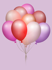 Real transparent flying colorful balloons. Party and celebration concept. Eps 10 vector file.