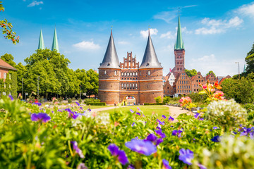 Historic town of Lübeck with Holstentor in summer, Schleswig-Holstein, northern Germany