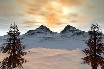 Snowy mountain, an alpine landscape, trees with  orange leaves and a beautiful sun in the sky.
