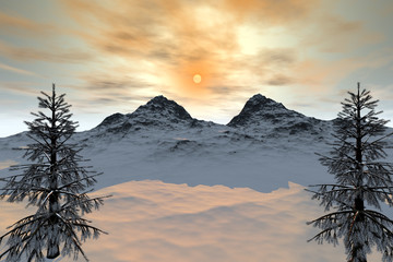 Sunset, a snowy landscape, coniferous trees, a beautiful mountain and a dream sky.