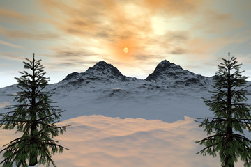 Mountain, a natural landscape, trees with green leaves, snow on the ground and cloudy sky with wonderful sun.