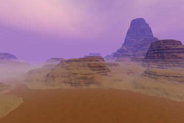 Fog on the desert, a rocky landscape, dirt road, large rocks and a hazy sky.