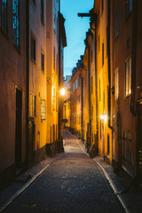 Stockholm Gamla Stan old town district at night, Sweden