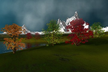 Next to the lake, an autumn landscape, beautiful trees with green yellow and red leaves, grass on the ground, snowy mountains, and a cloudy sky.