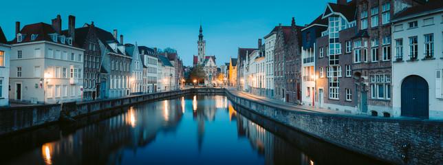 Wall Murals Bridges Brugge city center at night, Flanders, Belgium