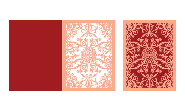 Laser cut panel design. Floral wall decor. Vector template for cutting.