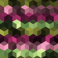 Hexagon grid seamless vector background. Bright polygons with bauhaus corners geometric graphic design. Trendy colors hexagon cells pattern for game ui. Honeycomb shapes mosaic backdrop.