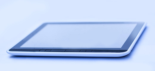 closeup . black tablet pc . isolated on a black background.