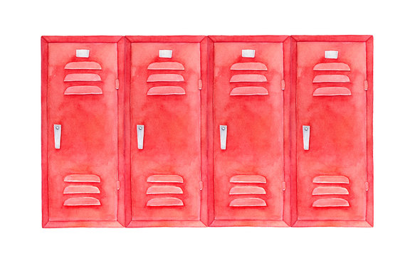 Watercolour sketch of colorful stylish lockers. Wide square shape, bright red color, steel handles. Hand drawn water colour graphic painting on white backdrop, isolated clip art element for design.
