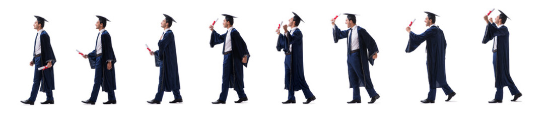 Young man happy with his graduation isolated on white