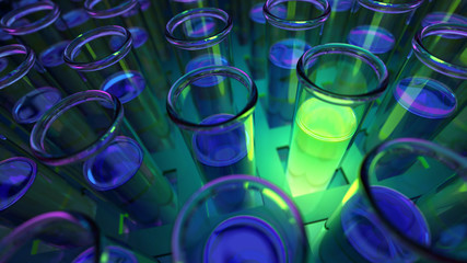 3D rendered laboratory test tubes with fluorescent green positive results in uv light