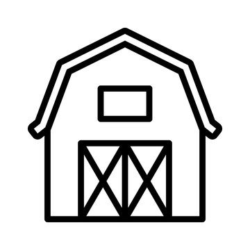 Western prairie barn house front view line art vector icon for farm apps and websites