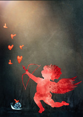 Watercolor amor. love concept background