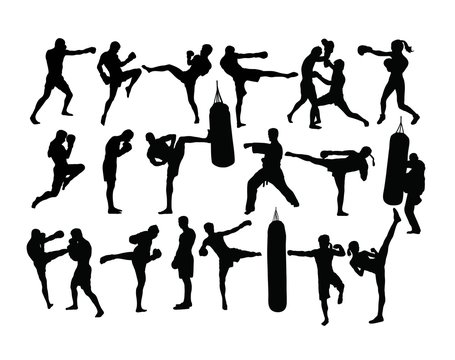 Boxing Sport Silhouettes Activity, art vector design