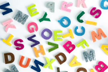 a colorful ENGLISH alphabet  on white background ,English language learning concept