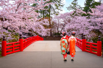 Poster Japan Japanese geisha with Full bloom Sakura - Cherry Blossom at Hirosaki park in Japan