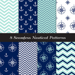 Nautical Vector Patterns with Anchors, Compasses and Chevron. Navy Blue, Aqua and White Marine Theme Backgrounds. Repeating Pattern Tile Swatches Included.