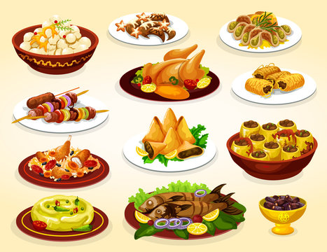 Ramadan dishes of grilled meat, fish and desserts