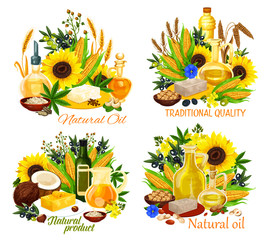 Oil bottles with corn, sunflower seed and olives