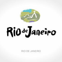 Rio de Janeiro hand drawn lettering calligraphy and abstract landscape. Modern brush ink. Brazil hand drawn vector illustration. Isolated on white background.