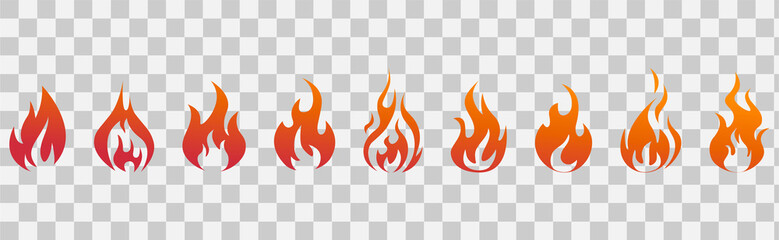 Fire flames. Fire icon set. Fire symbols. Vector illustration. Wall mural