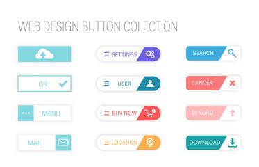web design buttons. colorful button set on white background. Flat line gradient button collection.Web Elements Vector Button Set