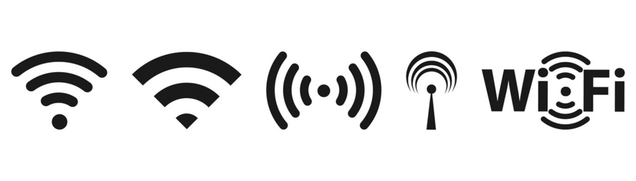 Different black wifi icon set. Wireless internet Sign isolated on white background. Vector wi-fi signal