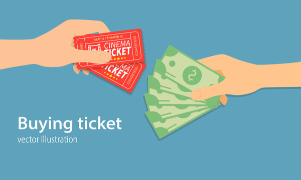 Buying ticket for money concept. Money and tickets in the hands of men, doing the exchange. One Hand holding ticket and second hand holding money bill