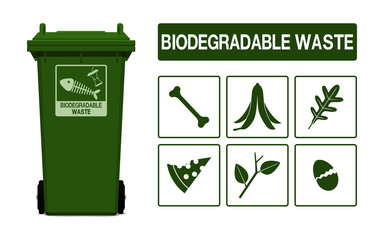 Set of biodegradable waste icon on transparent background