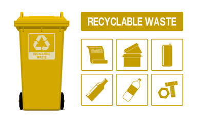 Set of recyclable waste icon on transparent background