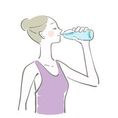 水 飲む 女性 余白 水分補給