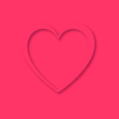 Heart with a shadow of beautiful abstract festive hearts made of pink paper for a happy Valentine's Day on a pink background and copy space. Vector illustration