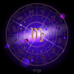 Vector illustration of sign and constellation VIRGO and Horoscope circle with astrology pictograms against the space background.