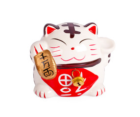 Ceramic doll Japanese welcoming lucky Cat. ( Maneki Neko ):Japanese characters means good luck or fortune