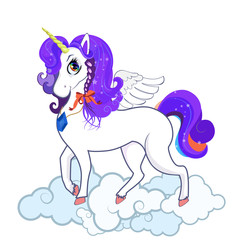 White unicorn with big eyes, horn, feather wings and violet hair on clouds