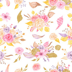 Watercolor seamless pattern with roses, leaves, flowers branches. Texture with gold and pink for wedding, romantic design, valentine's day, packaging, wallpaper, scrapbooking.