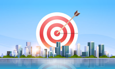 arrow in target business strategy concept successful goal achievement over big modern city building skyscraper cityscape skyline flat horizontal vector illustration