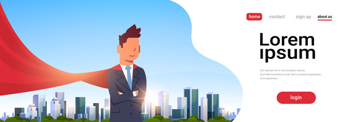 businessman wearing red super hero cape representing business power and courage leadership success concept over big modern city skyscraper cityscape horizontal copy space