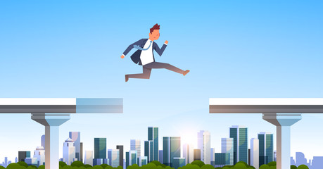 businessman jumping over gap broken bridge abyss business man leaping between two parts highway modern city skyscraper cityscape background flat horizontal