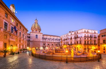 Zelfklevend Fotobehang Palermo Palermo, Pretoria Fountain - Sicily, Italy
