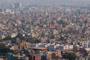 Wide view of the dense city of Kathmandu, Nepal.