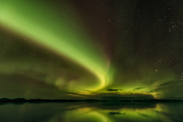 Gorgeous view of Northern lights in Alaska