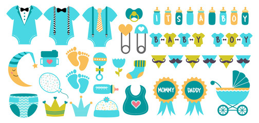 Baby shower icon vector set  pastel blue colors