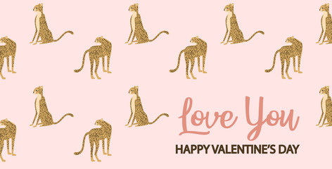 Happy Valentine's day template card with leopard. Editable vector illustration