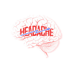 "Brain with lightning and the word ""Headache"""