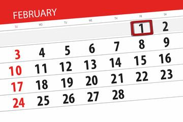Calendar planner for the month february 2019, deadline day, 1, friday