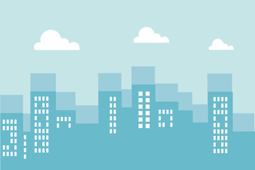 City architecture flat building illustration vector - urban city vector
